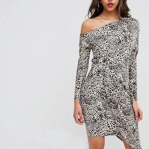 ASOS Leopard print off shoulder draped dress
